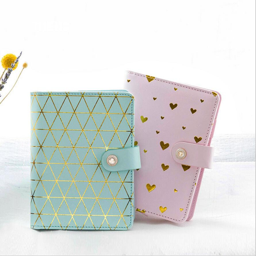 A6 Japanese New Arrival Kawaii Cute PU Leather Gilding Dot/Love Schedule Book Diary Weekly Planner Notebook Travel Journal new arrival weekly planner thumb girl notebook creative student schedule diary book color pages school supplies no year limit