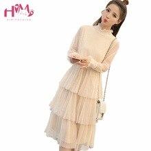 Popular New Fashion Korean Vintage Multilayer Pleated Mesh Dress High Waist Ruffles Long Sleeve Casual Midi Dress Women Dress