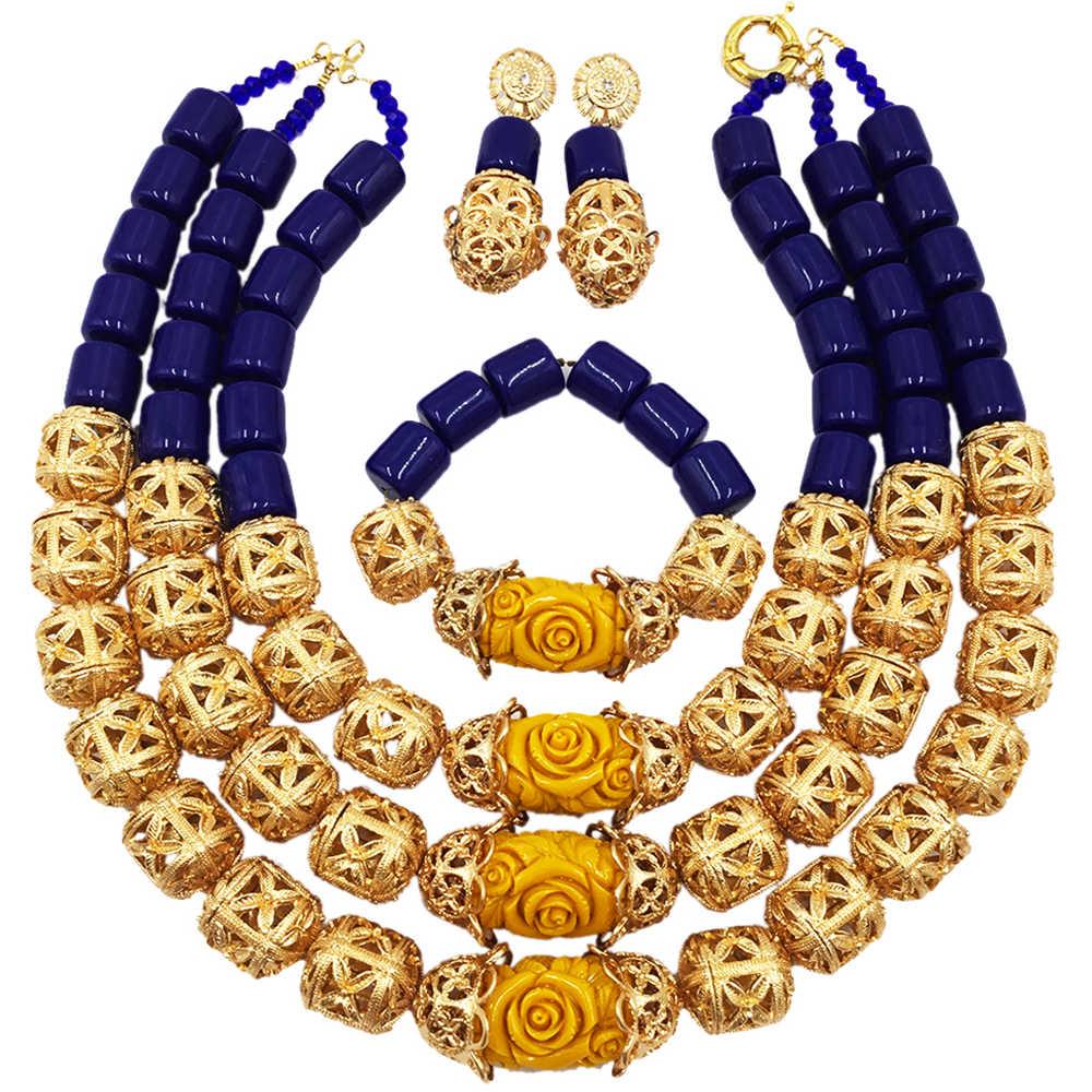 Модные Королевский синий Искусственные коралловые золото Бусины костюм Африканский комплект ювелирных изделий Нигерии Свадебные Цепочки