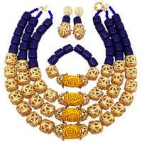 Модный Королевский синий искусственный Коралл, комплект украшений в африканском стиле, нигерийское Свадебное колье, свадебные украшения, н