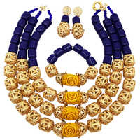 Fashion Royal Blue Artificial Coral Gold Beads Costume African Jewelry Set Nigerian Wedding Necklace Bridal Jewelry Sets FSH 010