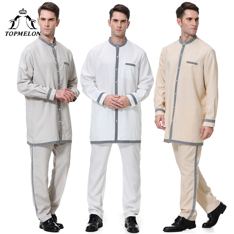 TOPMELON Arabic Clothing Mens Two Pieces Tops Pants Soft Comfortable Suit  Long Sleeve Jubba Thobe Islam Men Qatar Saudi