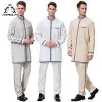 TOPMELON Arabic Clothing Mens Two Pieces Tops Pants Soft Comfortable Suit Long Sleeve Jubba Thobe Islam Men Qatar Saudi
