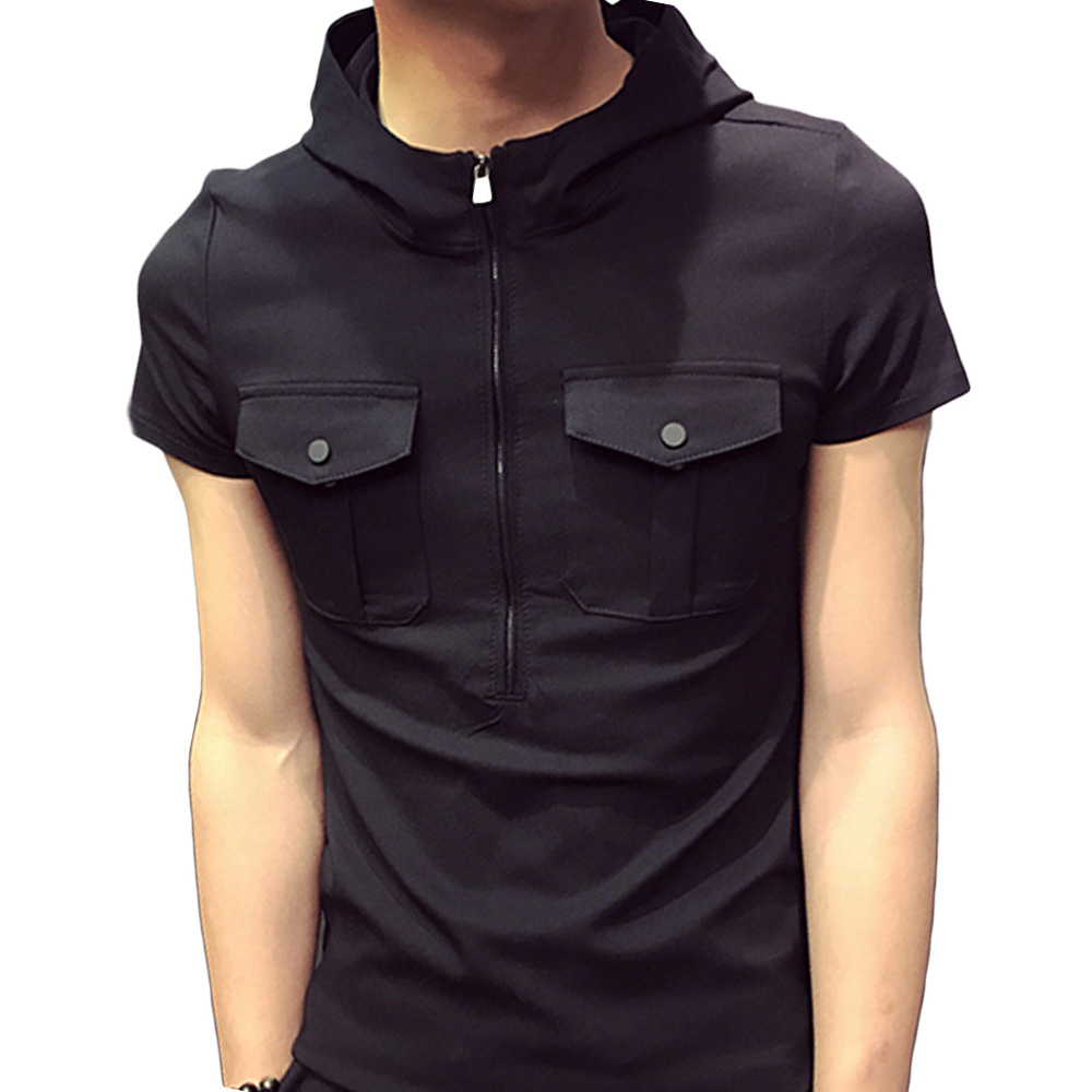 Black t shirt with white collar - Brand Design Zipper Up Fitness T Shirt Men Short Sleeve Hooded Summer Shirts 2017 Plus Size