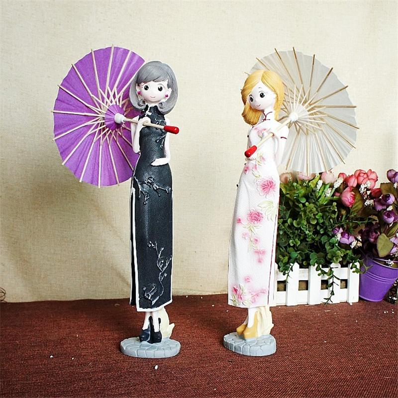 Retro Lady With Umbrella Figure Furnishing Articles Chic The Republic of China Style Natural Resin Doll Ornament for Living Room
