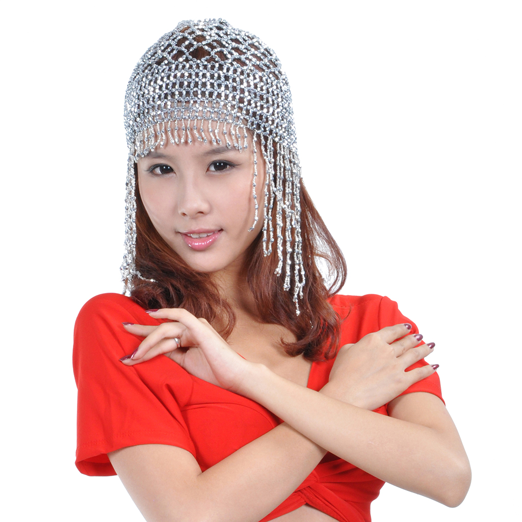 Girls Womens Exotic Cleopatra Beaded Belly Dance Head Cap Hat Hair Accessory Gold Silver Sparkling Dance Costume Accessory