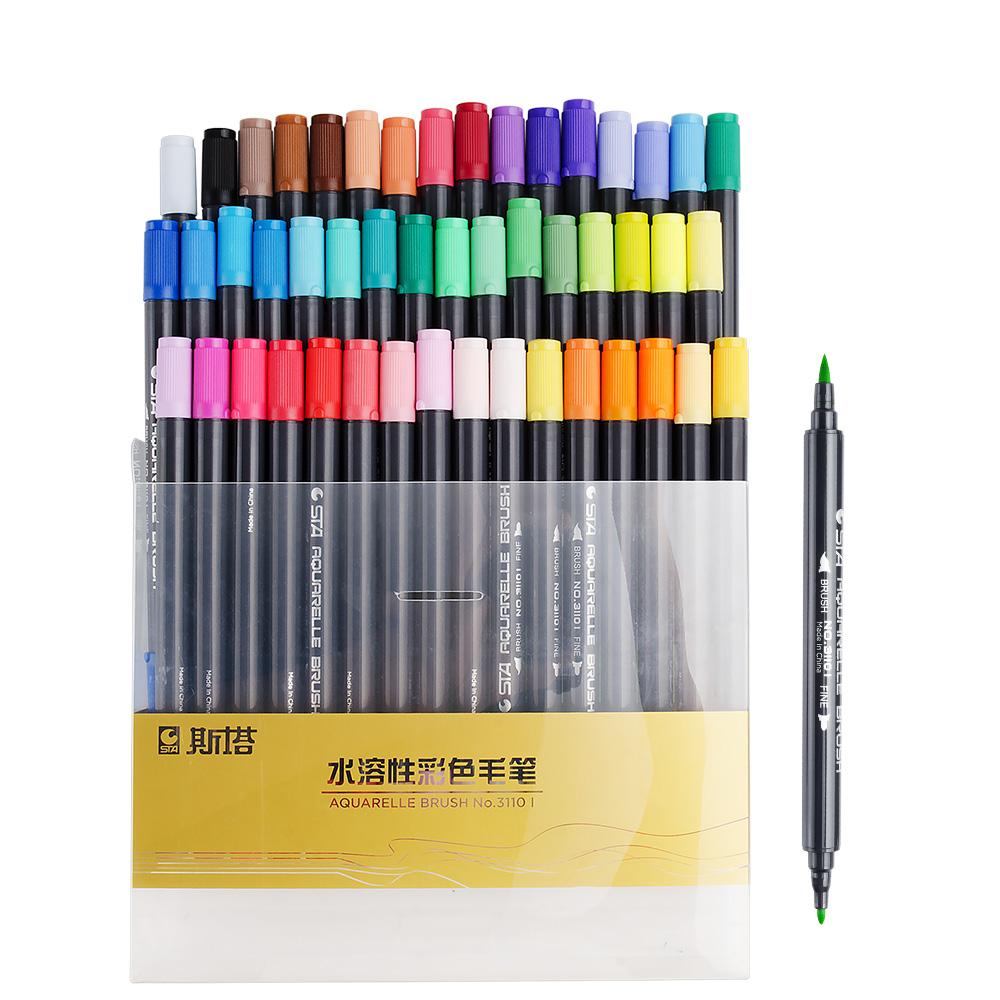 STA 48 Colors Dual Tips Colored Water-Soluble Marker Pen Non-toxic Graffiti Paint F School Student Design Stationery Art Marker sta 24 colors marker pen water soluble colored sketch marker brush pen set for drawing design art paints