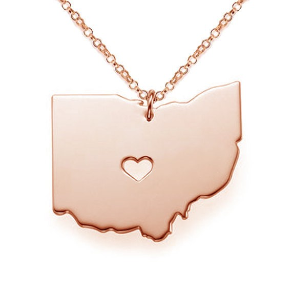 12pcs/lot Hot Sale Ohio State Map Necklaces & Pendants High Quality Stainless Steel Choker Necklaces For Unisex Jewelry