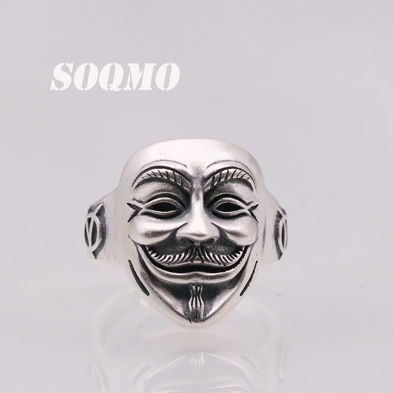 SOQMO 100% Real 925 Pure Silver Punk Ghost Open Adjustable Ring for Men or Women Cool Jewelry Gift SQM064 punk style pure color hollow out ring for women