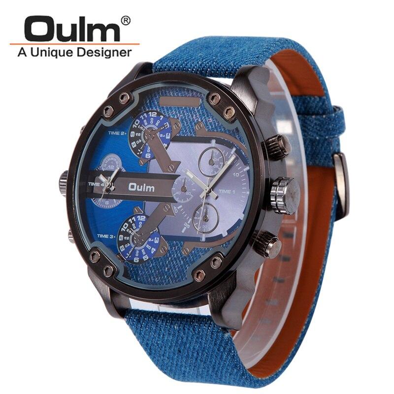 Prix pour Marque Oulm Montre Double Mouvement Hommes Quartz Montres de Sport En Cuir De Bracelet De Mode Hommes Hommes Montre-Bracelet militaire Nouvelle Horloge