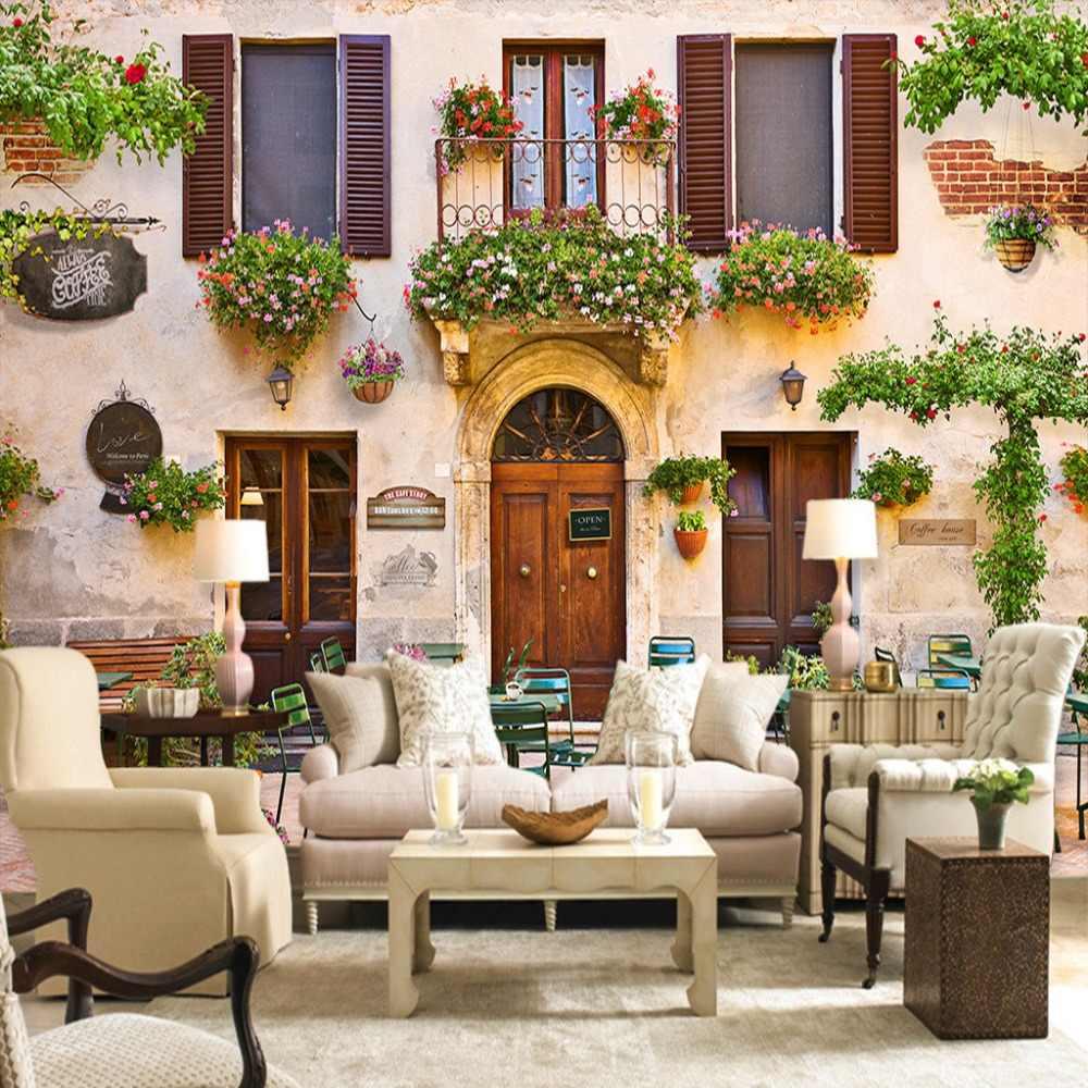 مخصص 3D صور خلفيات الأوروبية نمط الرجعية الشارع مقهى مطعم خلفية الديكور جدارية ورق حائط Papel دي Parede سالا