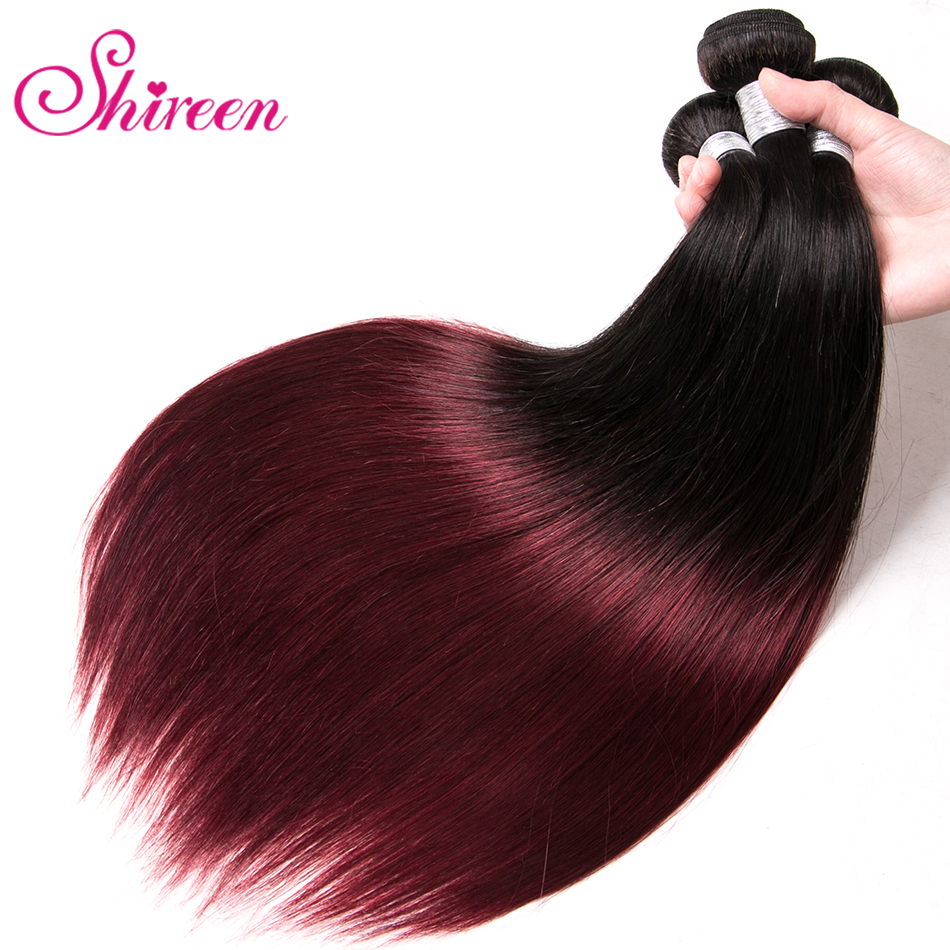 Brazilian Straight Hair Weave Bundles 1B 99J Burgundy Two Tone Ombre Human Hair Bundles 3PC Remy Hair Extensions 8 30 inches