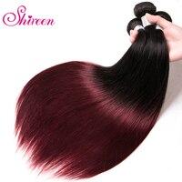 Brazilian Straight Hair Weave Bundles 1B 99J Burgundy Two Tone Ombre Human Hair Bundles 3PC Remy Hair Extensions 8 30 inches