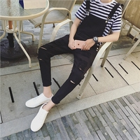 2017 New Arrival Spring Personality Big Hole Ripped Jumpsuit Male Suspenders Black White Overalls Hip Hop