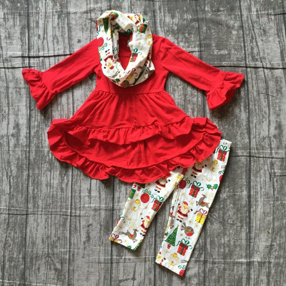 baby girls fall/winter 3 pieces sets scarf ruffle boutique children cotton clothes christmas gift print red dress top outfits шланг wester 814 005 пневматический