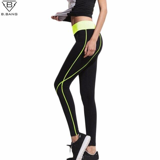 B. bang 2017 fitness femmes courir leggings sport élastique pantalon pour yoga  gym femmes sport 50cf02f21fe