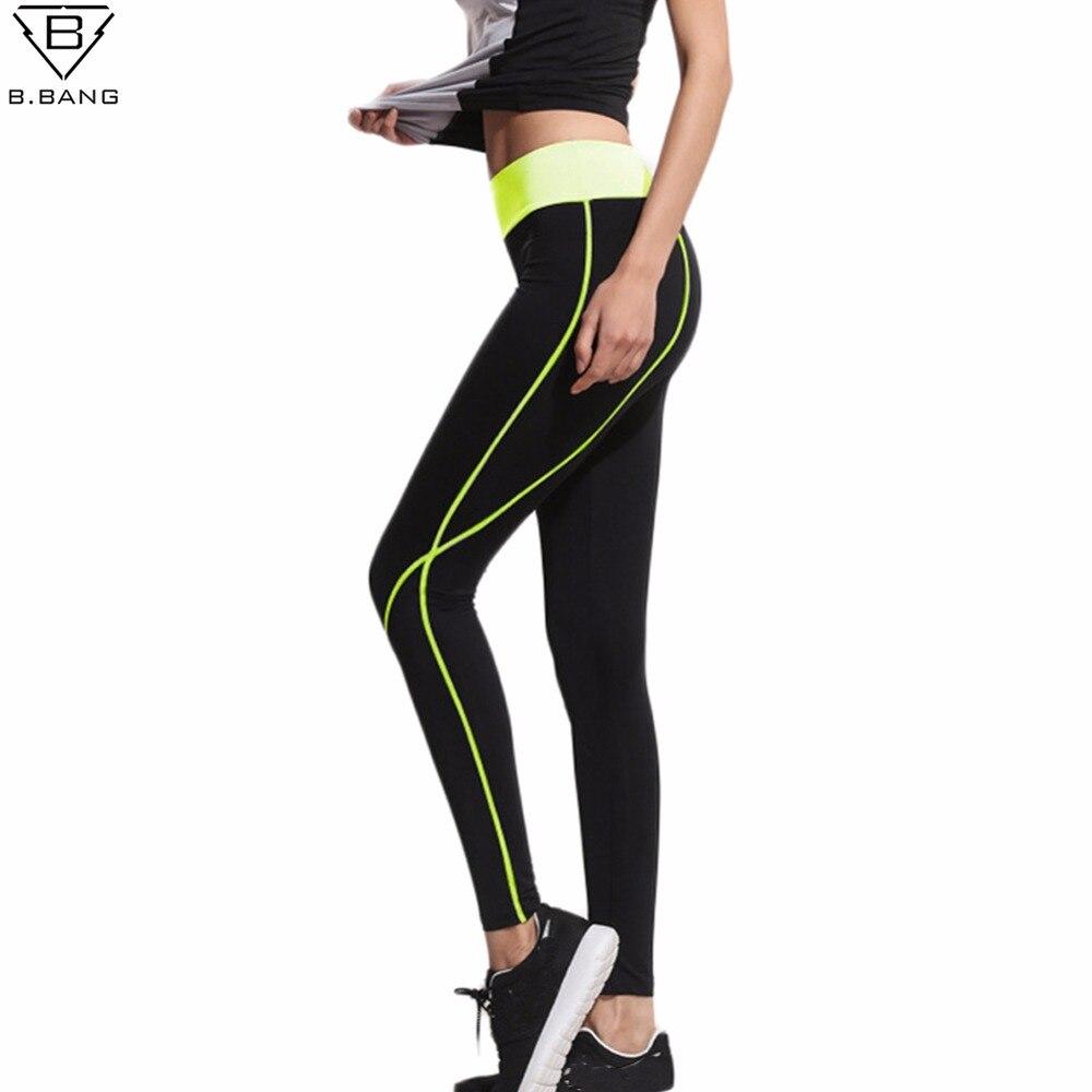 B. bang 2017 mujeres corriendo leggings deportivos pantalones elásticos de fitne