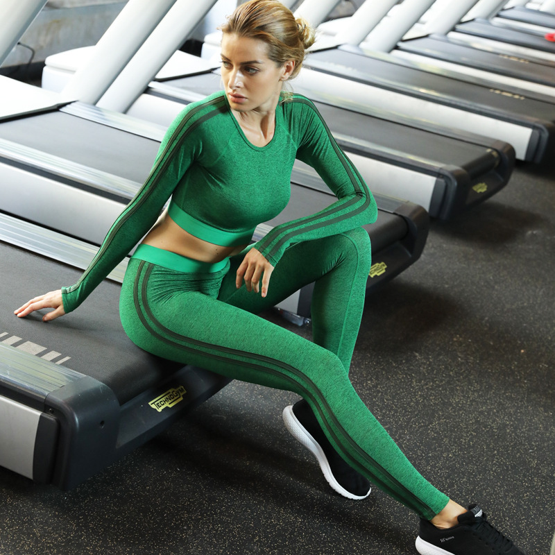 2pcs Woman Yoga Set Long Sleeve Tops Sport Suit Gym Fitness Tracksuit Clothing Lady Compressed Workout Shirt Pants Set 1852 Yoga Sets Aliexpress