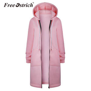 f0054300407d5 Free Ostrich Warm Coat Zipper Long Jacket Outwear Women