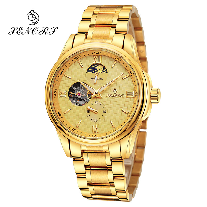 SENORS Mechanical Automatic Watches Skeleton Watch Men Male Clock Top Brand Luxury Wristwatch Fashion Montre Homme cadisen new design bezel golden watch mens watches top brand luxury montre homme clock men automatic skeleton watch