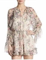 Women Mercer Floating Floral Silk Romper Ruffle Trim Floral print Tasseled Drawstring Waist Playsuit