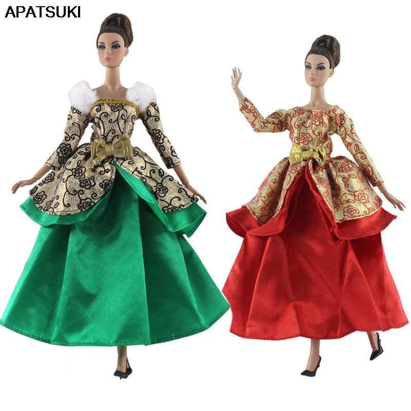 Green Red Gold Costume Fashion Doll Clothes For Barbie Doll Gown 1/6 Doll Accessories Party Dress For Barbie Doll Outfits