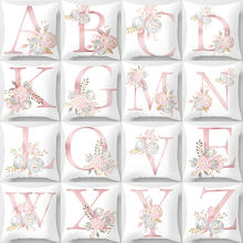 26 Alphabet Initials Pink English Letters Cushion Covers Watercolor Painting Flower KING LOVE HOME Cushion Cover Pillow Case(China)