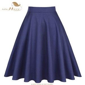 Image 1 - SISHION Cotton High Waist Elegant Sexy School Girls Swing Skirts Womens Ladies A Line Party Casual Navy Blue Vintage Skirt