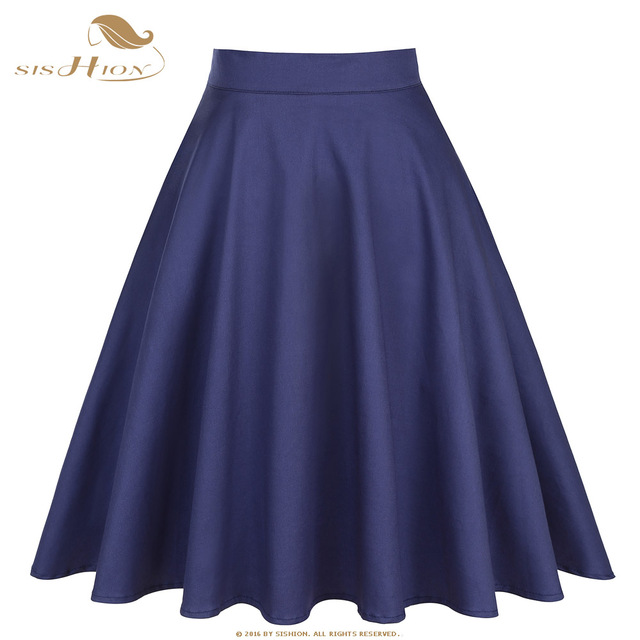 SISHION Cotton High Waist Elegant Sexy School Girls Swing Skirts Womens Ladies A Line Party Casual Navy Blue Vintage Skirt