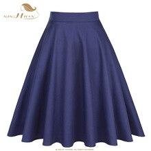 Женские хлопковые юбки трапеции sision, вечерние трапециевидные юбки темно синего цвета с высокой талией для школьниц, в винтажном стиле