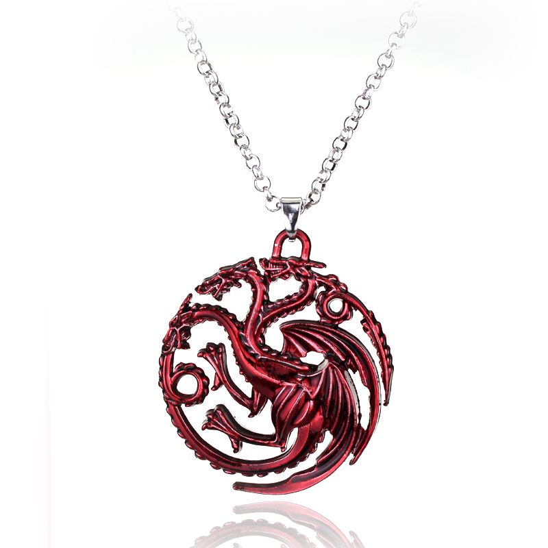 Top Grade Quality Song Of Ice And Fire Game Of Thrones Targaryen Dragon Badge Pendant Necklace