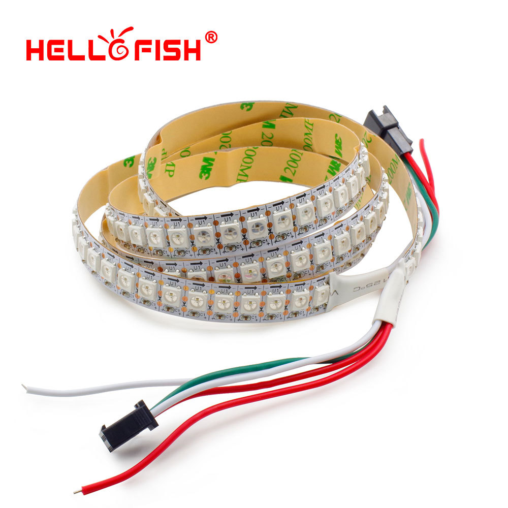 Hello Fish 1m WS2812B Full Pixels LED Strip 144 LED / m Dream Running Color LED Tape Blanco / Negro PCB, Envío gratis
