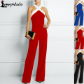 Plus Size Strapless Sexy Long Pants Rompers Women Jumpsuit Cut Out Cross Bandage Bodycon Full-Length Jumpsuits Night 2016 New