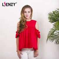 LIEENZY Red Women Blouse O Neck Sleeveless Falbala Sleeve Cute Lovely Womens Elegant Blouse For 2016