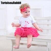 3 Pcs Moda Bebê Conjunto Roupa Da Menina Headbands Impresso Algodão Orgânico Recém-nascidos Bodysuits Dos Desenhos Animados Saia de Renda Conjuntos de Roupas Infantis