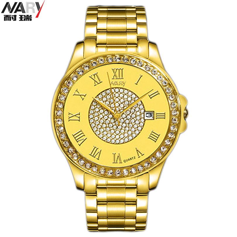 NARY Watch Women Dress Watches Rose gold New Fashion Full Steel Analog Quartz men Ladies Rhinestone Wrist watch Lovers Clock Man