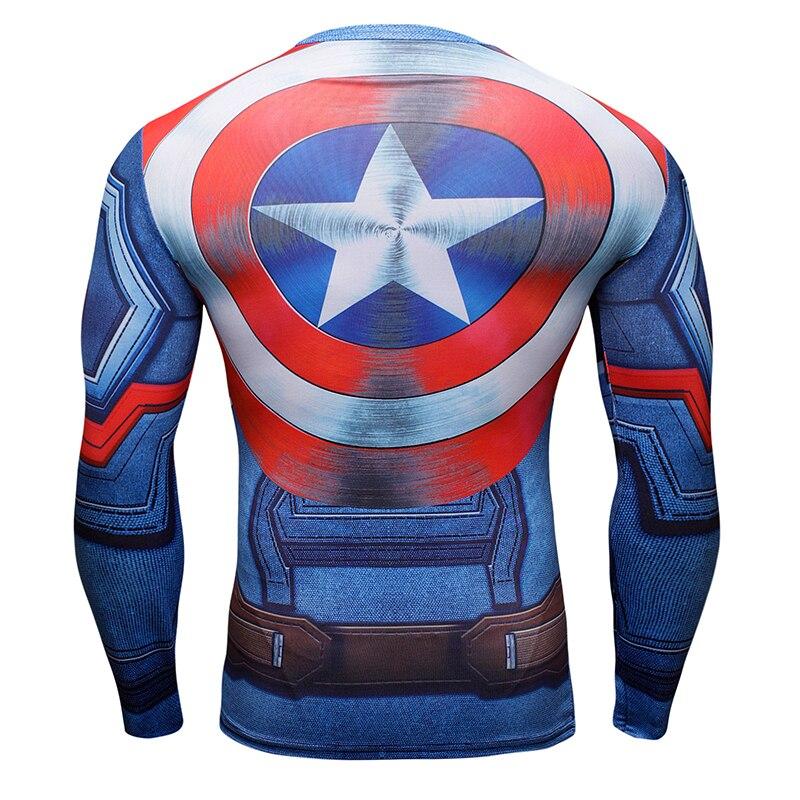 Capitão América Escudo T-shirt dos homens de manga comprida camisas  apertadas de t Vingadores Guerra Civil 3D impressão verão g ym Comprimido  t-shirts 36caf1b5cd58d