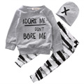 2016 crianças meninos roupas de Outono roupa do bebê define Bebê Recém-nascido Menina menino camiseta de Manga Longa + Calça zebra Chapéu 3 pcs Outfits Set