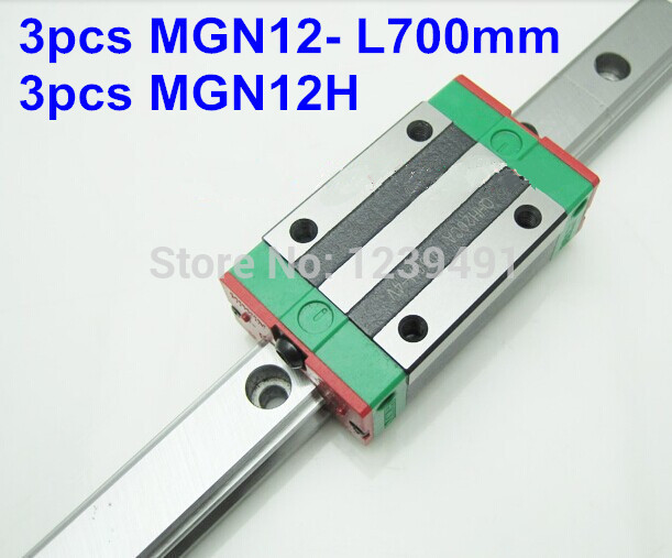 Miniature Linear Guide MGN12 12mm linear rail slide set: 3pcs MGN12-L700mm rail+3pcs MGN12H carriage cnc parts 3d print parts cnc axkmini mgn12 12mm miniature linear rail slide 1 set 3pcs 12mm l 200mm rail 3pcs mgn12h carriage