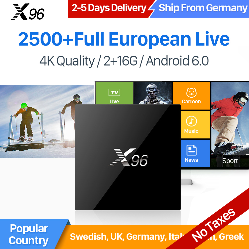 X96 IPTV Europe Box Android Amlogic S905X Quad Core 4K HD WiFi With IUDTV 1 Year IPTV Nordic Sweden Spain Italy UK Germany