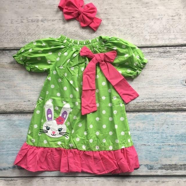 2017 baby girls bunny easter clothing children easter party dress girls bunny dress with matching headband
