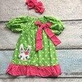 2017 meninas do bebê roupas crianças party dress meninas coelho da páscoa coelhinho da páscoa dress com headband correspondência