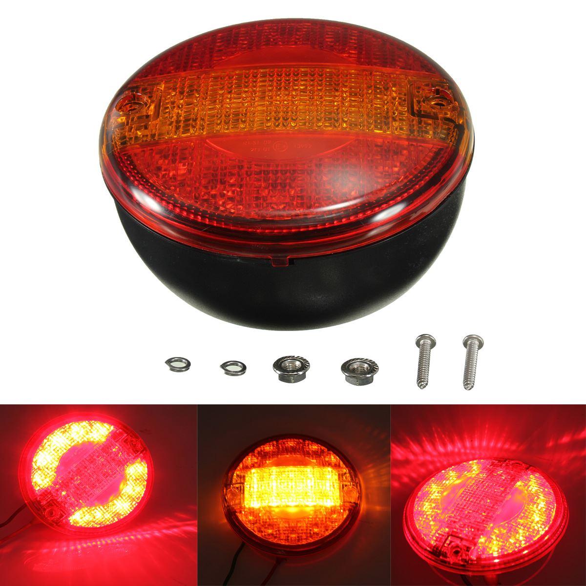 12/24V Universal LED Rear Tail Stop Indicator Light Round Truck Caravan E-marker