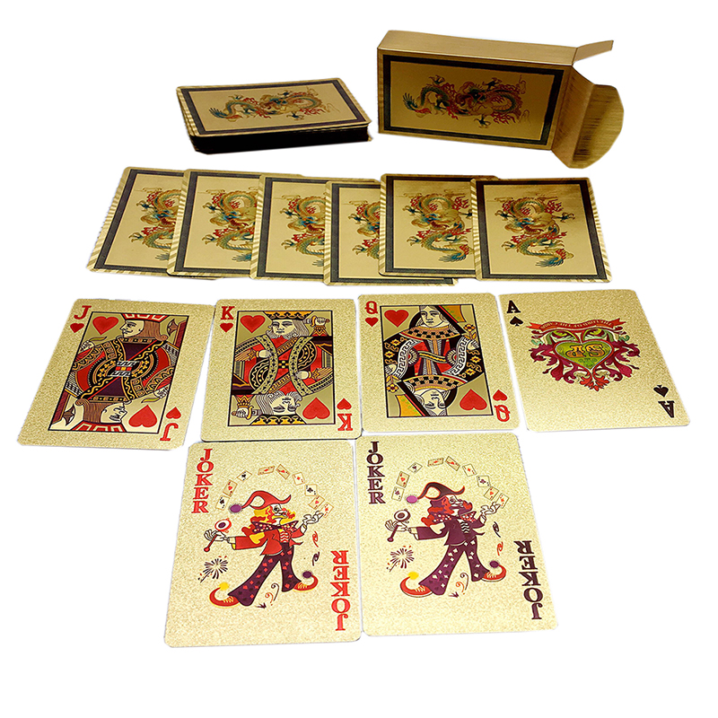 New Design Playing Cards Golden Waterproof Plastic Poker Good Gift for Leisure Casino Cards Dragon/Phoenix Style for Optional