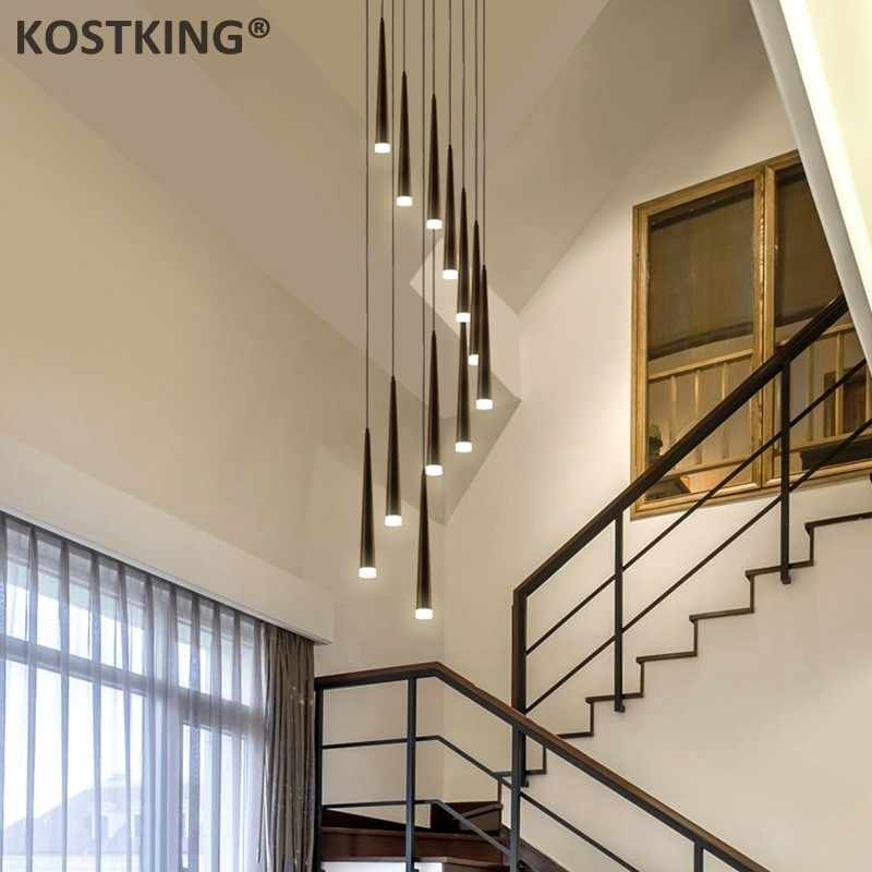 ĐÈN LED hiện đại Đen staircae Đèn chùm nhôm hình nón dài cầu thang Mặt dây chuyền đèn treo đèn xoắn ốc lustre cho cầu thang đèn