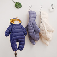 autumn winter baby clothing long sleeves pure color nylon zipper hooded baby jumpsuit boys girls thick warm rompers
