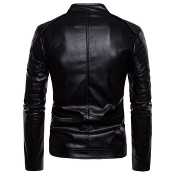 European and American Street Tide Clothing Personalized Diagonal Zipper Leather Jacket Fashion Wild Coat