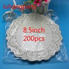 100PCS 8.5/215mm Vintage napkin Hollowed Lace Paper mats Crafts paper doilies/Wedding Decoration 200pcs white pads
