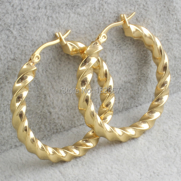 Us 7 03 12 Off One Pair Gold Stainless Steel Twisted Wire Round Hoop Earrings For Fashion Women 5 37mm In From Jewelry Accessories