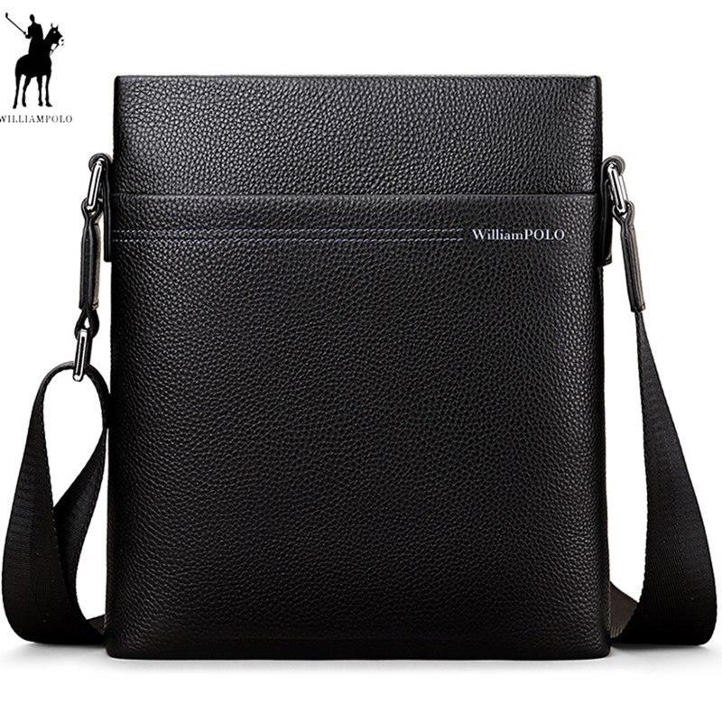2019 New WILLIAMPOLO Bag Luxury Brand Male Messenger Bag Shoulder Leather Handbags Bolsas Grande Black Leather